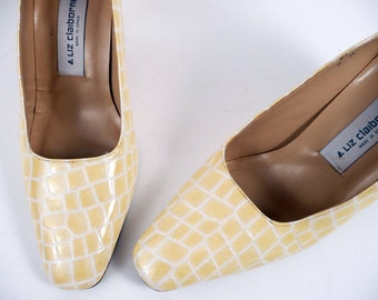 Vintage 70s Preppy Liz Clairborne Lemon Yellow Career Heels Pumps 8 M