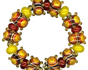 Handmade USA Lampwork Glass Beads Warm Rainbow Purple Red Yellow Orange Bead Set