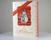 Handmade Snowman 3D Christmas Card