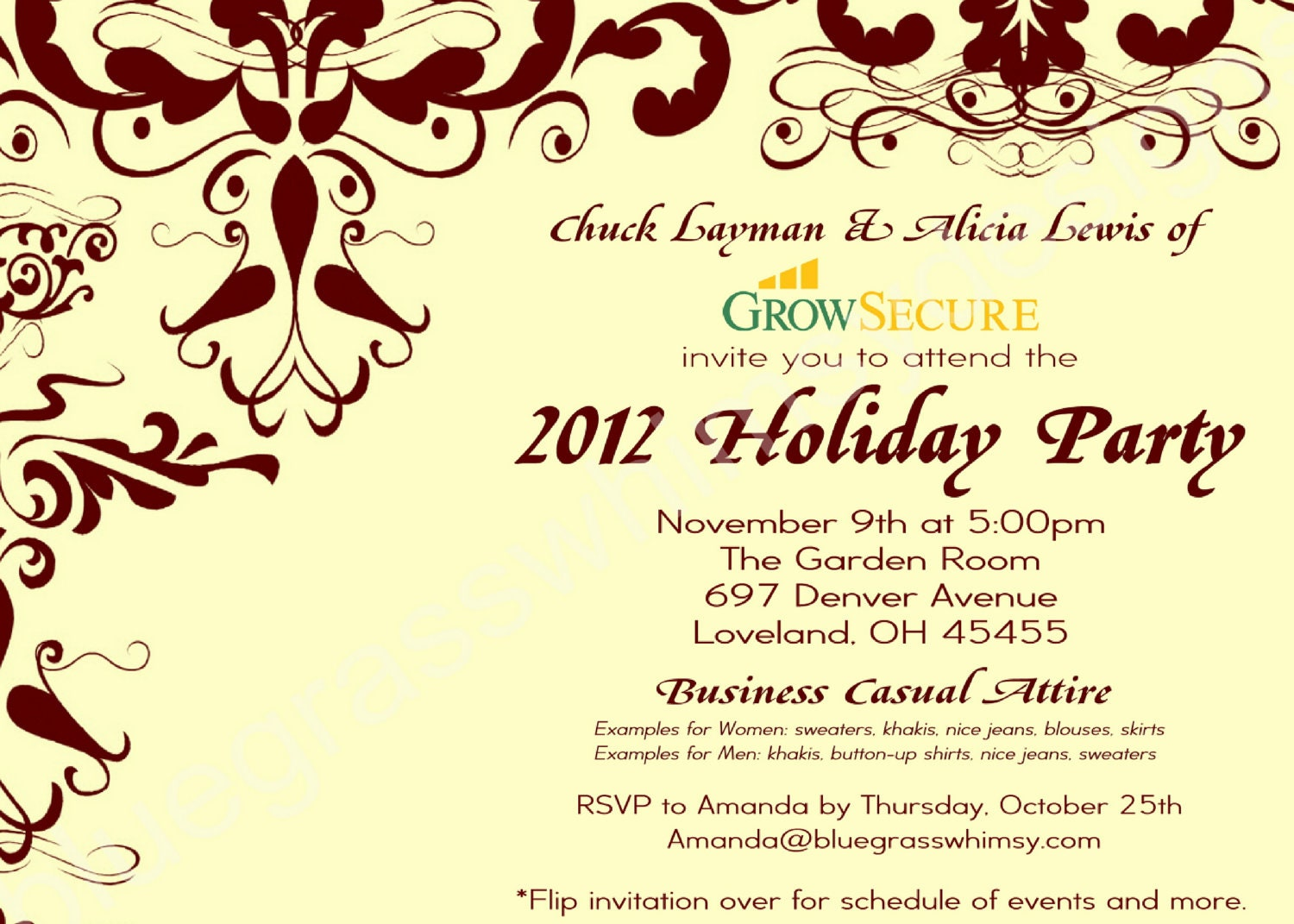 Custom Corporate Holiday Party Invitation w/ Crimson Flourish