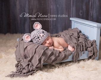 Newborn Photo Prop//Newborn Mouse Hat//Newborn Props//Crochet Mouse Hat//Animal Hat//Crochet Baby Hat//Newborn Props//Baby Gift//Unisex Hat
