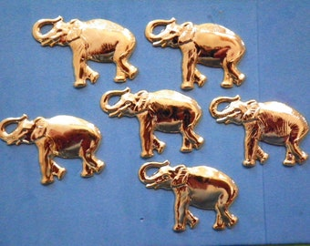 6 Vintage Goldplated 40mm Elephant Stampings