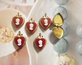 6 Brass Heart Lockets with Red Cameo