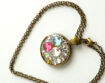 Pastel Gems And Sprinkles Resin Pendant Necklace