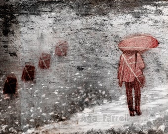 Red Umbrella Art Print, Rain, Black and White Wall Art, Street Art, Woman, Conceptual Art, Surreal, Leaf Print, Rainy Day, Deja Vu