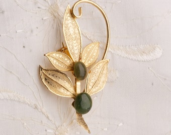 Vintage Gold Tone and Jade Brooch