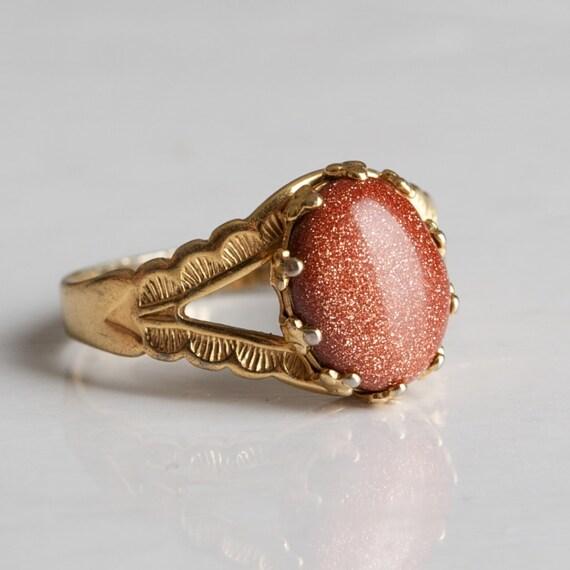 Vintage Goldstone Gold Tone Ring