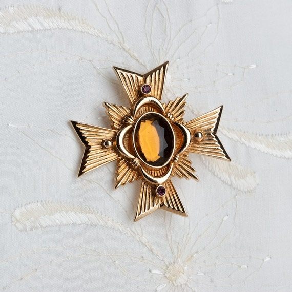 Vintage Avon Maltese Cross Brooch Pendant Allegro Collection