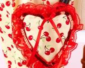 Kawaii Hobo Bag- Yellow, Red and Cherry Print Purse with Heart Shape Pocket- Kawaii-Rockabilly-Lolita