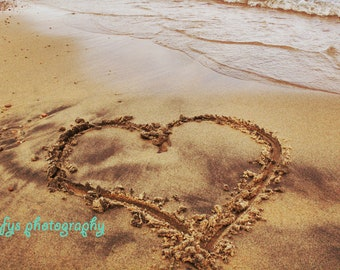 Dirty love - Fine Art Print - Beach Heart Photography - Love, Shore, Beach, Valentine, Heart, Sand, Natural, Stones, Brown