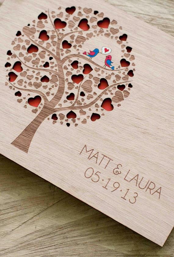 Custom Wedding guest book wood rustic wedding guest book album bridal shower engagement anniversary- Cutie Pop