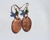 Hammered Oval Copper Earrings with Round Turquoise Magnesite