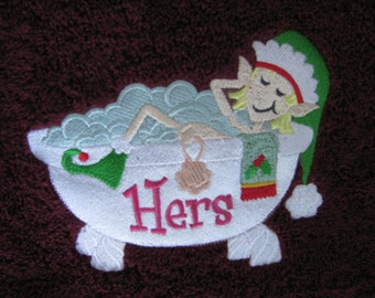 """Embroidered """"Bathing Elf His & Hers"""" Bath Towel Set (2)"""