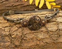 Steampunk Maiden Button Zipper Choker - Drape Choker - Steampunk Jewelry
