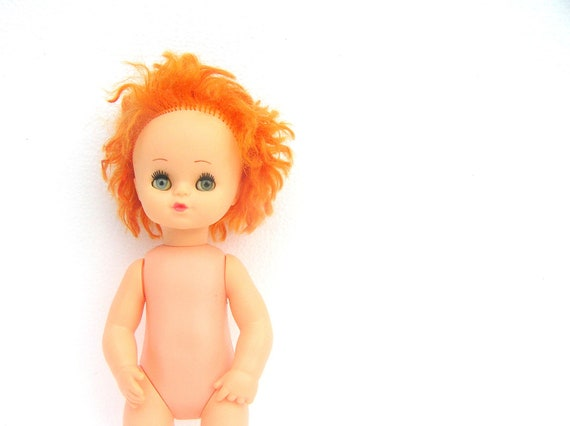 Orange haired vintage girl doll soviet era 70s 80s  tangerine hair