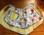 Vintage 1950's Half Apron,  Rock and Roll Fabric. Hand Sewn, One of a Kind