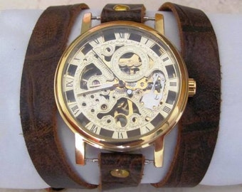 New Classic Skeleton hand-wind Mechanical Leather Band Gold Wrist Watch  20% Off -79 Dollars Only  FREE SHIPPING