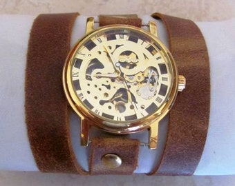 Stylish Retro Leather Band Manual-Winding Mechanical Skelton Gold Watch 20% Off - 79 Dollars Only   FREE SHIPPING
