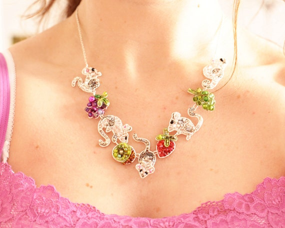 Reserved for Kim: Mice and Fruit Necklace