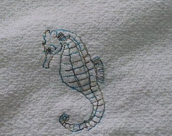 Toile Seahorse dish towel
