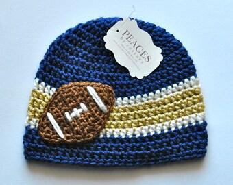 Football Beanie - Navy Blue, White & Gold Football Hat ( newborn gift preemie hat newborn costume babyshower newborn beanie baby hats )