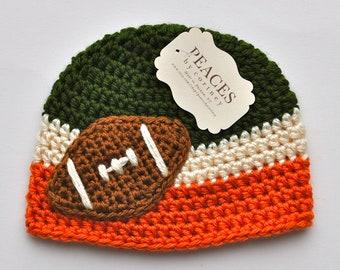Football Beanie - Green, White & Orange Baby Football Hat ( newborn gift preemie hat newborn costume babyshower newborn beanie baby hats )