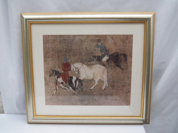TRIBUTE HORSES - Print From Unknown Chinese Artist Yuan Dynasty (1260-1368) - Professionally Framed Home Decor Wall Art Hanging Oriental