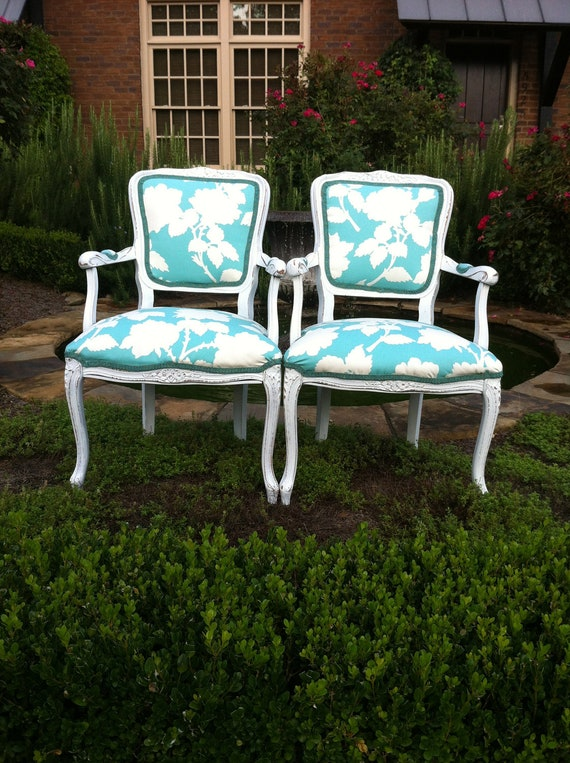 On Hold for Katharine Pair of French Burlap Louis Accent Arm Chairs