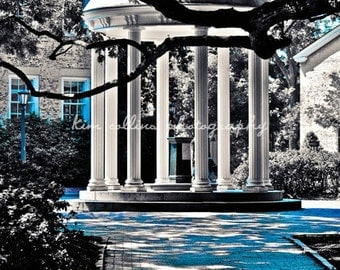Old Well UNC Black & White with Carolina Blue-Chapel Hill, North Carolina Multiple Sizes Available-Fine Art Photography-,Tarheels, UNC
