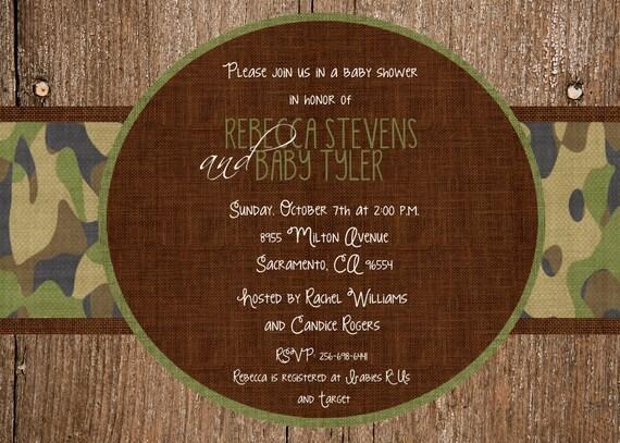Camouflage Wedding Invitation Kits: Custom Wood And Camo Baby Shower Invitation