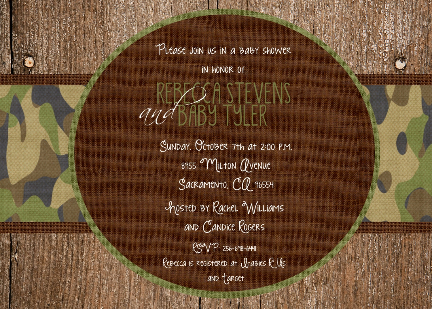 custom wood and camo baby shower invitation