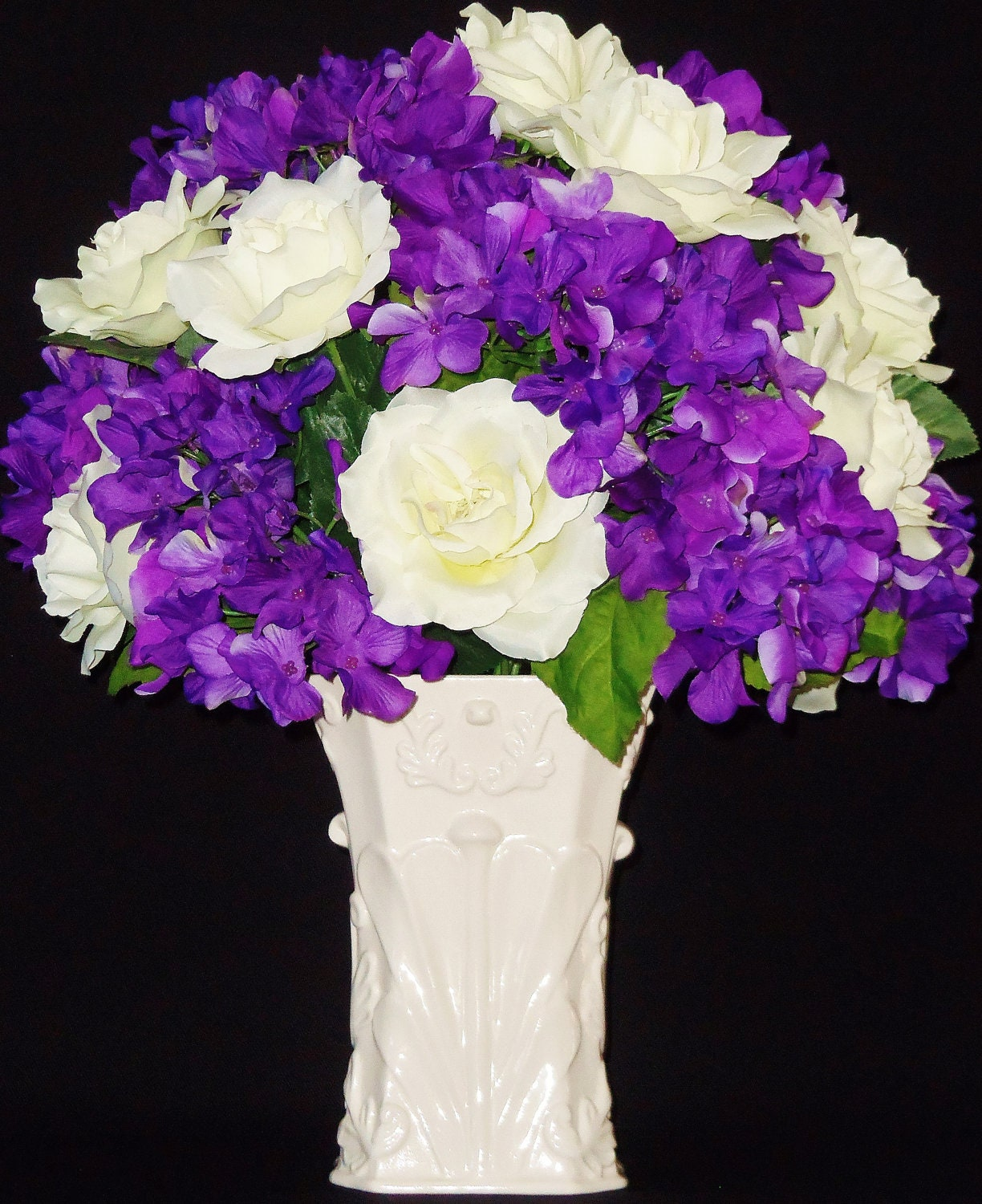 artificial flower arrangement white roses  purple hydrangea, Beautiful flower