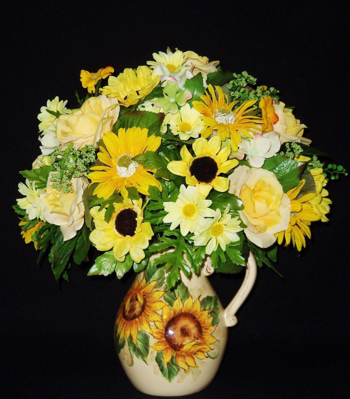 Silk Flower Arrangement Yellow Roses Gold Gerber Daisies