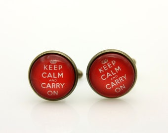 Boutons de Manchettes keep calm and carry on