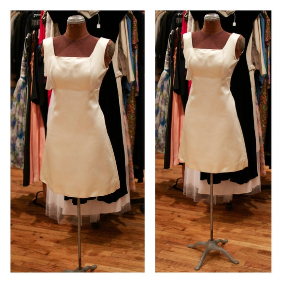 1960s Cream White Satin A Line Mini Shift Dress Party Dress Wedding Dress Cocktail Dress
