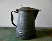 Small Vintage Enamelware Coffee Pot Pitcher Grey