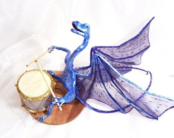 Blue Richard, Rocking Dragon Drummer: Dragon Musician Art Doll