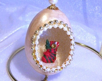 Handmade Vintage Christmas Ornament: Sock of Toys in an Egg - S1035