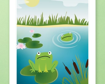 CLEARANCE! A4 - Nursery Art, Kids Art, Kids Wall Art - Funny Frogs Print