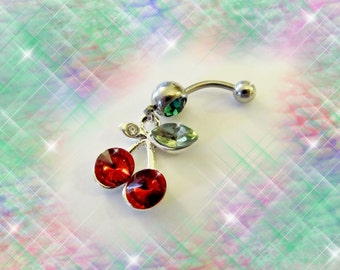 SALE-Belly Ring, Red Cubic Zircon Cherry Cherries, Belly Button Jewelry, For Women and Teens