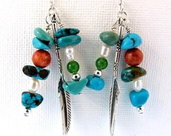 Southwestern Gemstone Earrings, Genuine Turquoise Dangle Earrings w 925 Sterling Silver Feather, Red Coral, Pearls, Jade, Handmade Earrings