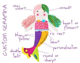 custom made mermaid doll    serafina custom mermaid doll    mermaid rag doll    keepsake gift    heirloom doll