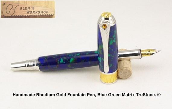Fountain Pen Handmade Executive Pen Rhodium Gold Luxury Pen Tru-Stone Bl Grn Matrix Postable Cap Office Pen