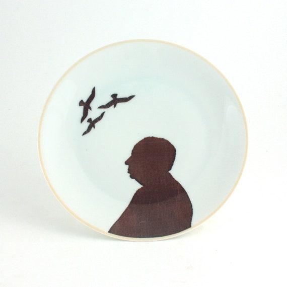 Altered  Alfred Hitchcock Plate Vintage  Decorative House Decor Vintage Porcelain White Horror Movie Thriller Director