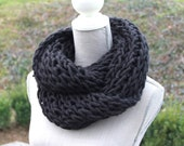 Long Black Hand Knit Cowl Neck Scarf, Chunky Cowl Neck Scarf, Infinity Scarf