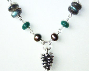 Pine cone necklace with labradorite, amazonite and pearls, sterling silver jewelry OOAK