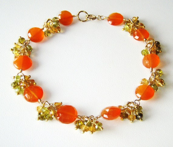 Carnelian coin bracelet with citrine and green garnet, gold jewelry OOAK