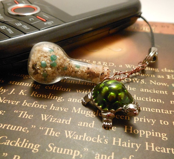 Cell Phone Charm with Tiny Bottle and Green Turtle Charm