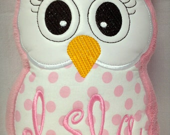 Personalized, Monogrammed Stuffed Owl, Pillow, Reading Buddy