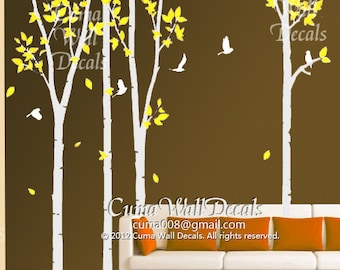 Vinyl wall decals tree wall decal bird murals wall sticker-  4 birch tree with bitds in forest Z105